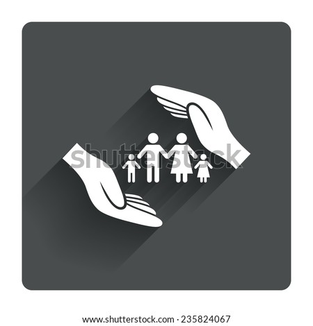 Family life insurance sign icon. Hands protect human group symbol. Health insurance. Gray flat square button with shadow. Modern UI website navigation. Vector - stock vector