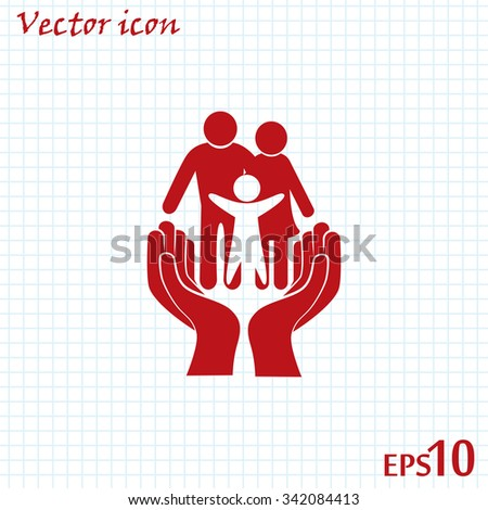 Family life insurance sign icon. Hands protect human. Vector - stock vector