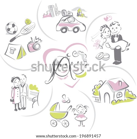 Family life of couple, man and woman - love, wedding, travel, sport, hobbies, home, children, aging - stock vector
