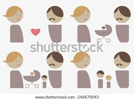 Family life soft color icon set - stock vector