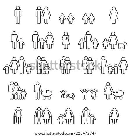 Family line icons set  - stock vector