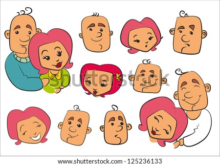 family, love, relationships, cartoon faces, themes, plots, stories, - stock vector