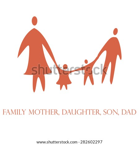 family mom dad daughter son - stock vector