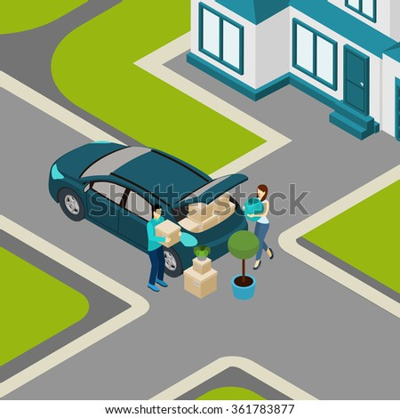 Family moving from house to apartment loading  packed boxes into car trunk isometric banner abstract vector illustration - stock vector