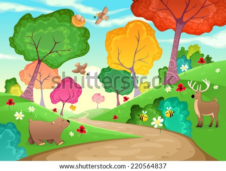 Family of animals in the wood. Cartoon and vector illustration - stock vector
