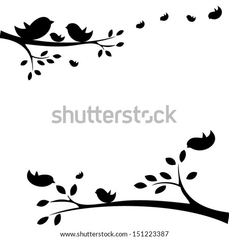 Family of birds sitting on a branch - stock vector