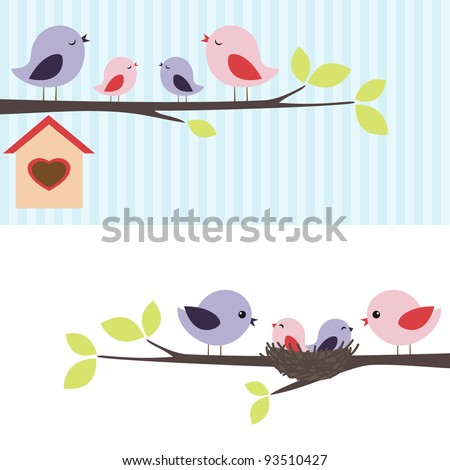Family of birds sitting on a branch. Two variations. - stock vector