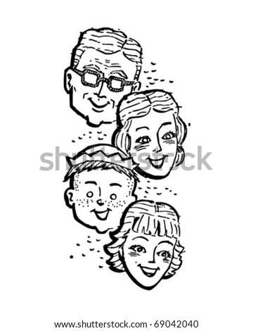 Family Of Four - Retro Clipart Illustration - stock vector