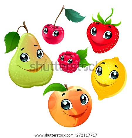 Family of funny fruits. Vector cartoon isolated characters. - stock vector