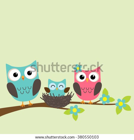 Family of owls with newborn owlet sitting on the branch of blooming tree - stock vector