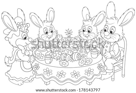 Family of rabbits celebrating Easter at the holiday table with a fancy holiday cake  - stock vector