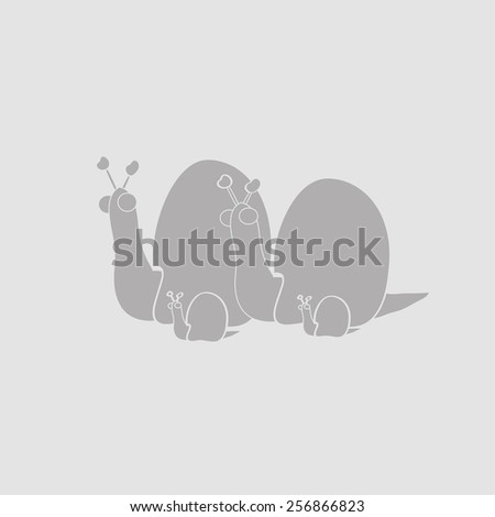 Family of snails: mom, dad, and two little snails. Stylized image. - stock vector
