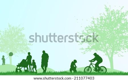 Family outdoors summer - stock vector