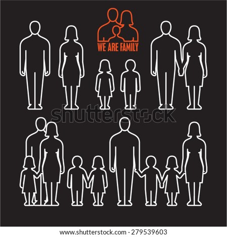 Family outline icons on black background. - stock vector