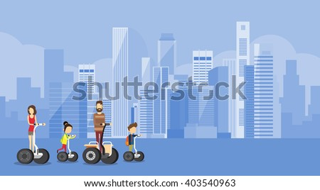 Family Parents Two Children Ride Electric Scooter Modern Transport Big City Flat Vector Illustration - stock vector