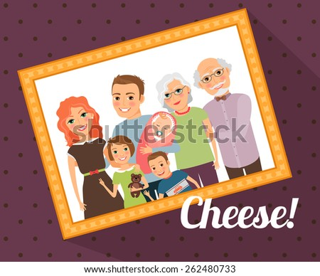 Family photo portrait. Mother father son daughter baby grandmother grandfather. Vector illustration - stock vector