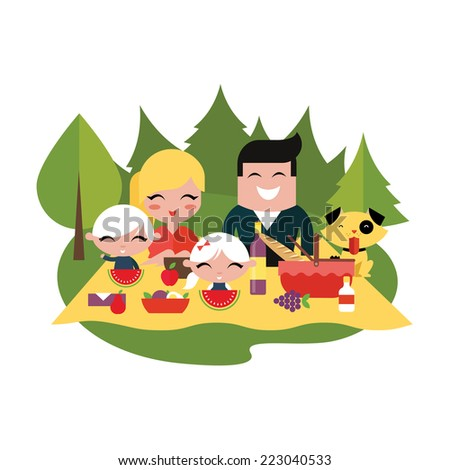 Family picnic outdoors - stock vector