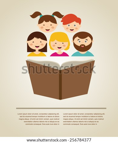 family reading a book. illustration with  place for your text - stock vector