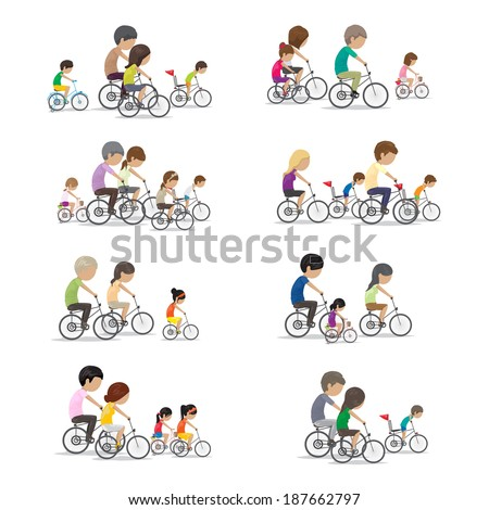 Family Riding A Bicycle - Isolated On White Background - Vector Illustration, Graphic Design Editable For Your Design - stock vector