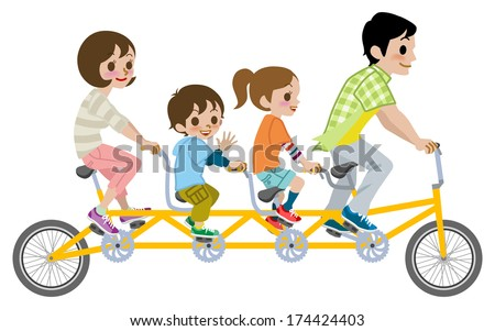 Family riding Tandem Bicycle, Isolated - stock vector
