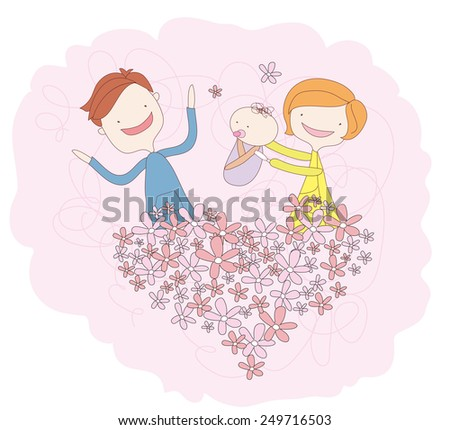 Family's love. father, mother and newborn baby. Flower heart. - stock vector