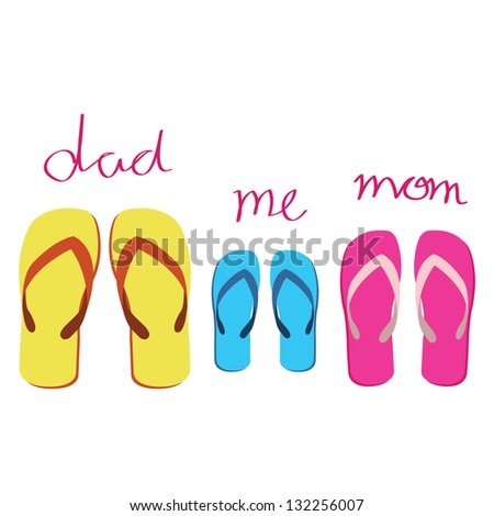 family's sandals on white background - stock vector