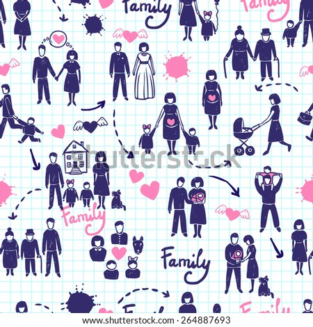 Family seamless pattern with hand drawn married couples kids and parents vector illustration - stock vector