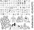 Family set of black sketch. Part 6-3. Isolated groups and layers. - stock vector
