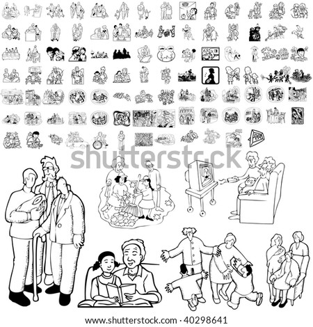 Family set of black sketch. Part 4-0. Isolated groups and layers. - stock vector
