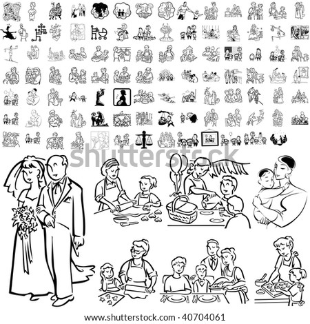 Family set of black sketch. Part 5-1. Isolated groups and layers. - stock vector