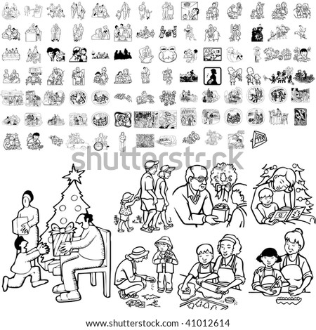 Family set of black sketch. Part 4-2. Isolated groups and layers. - stock vector