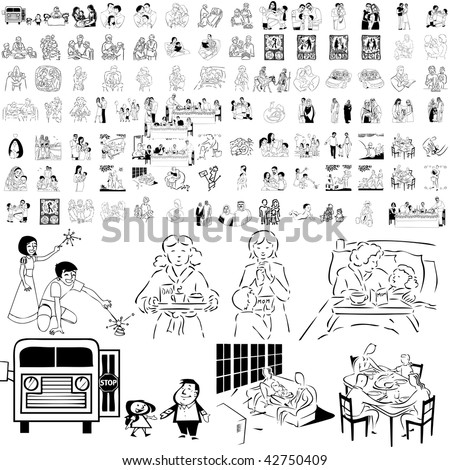 Family set of black sketch. Part 6-7. Isolated groups and layers. - stock vector