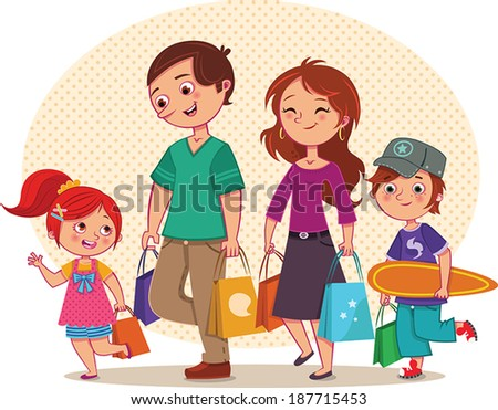 Family Shopping - stock vector