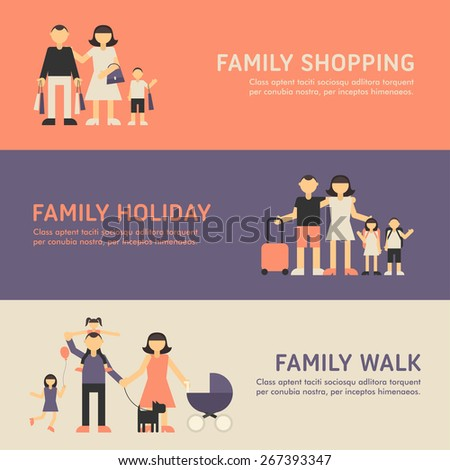 Family Shopping, Family Holiday and Family Walk. Flat Design Illustration for Web Banners - stock vector