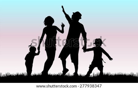Family silhouette. - stock vector
