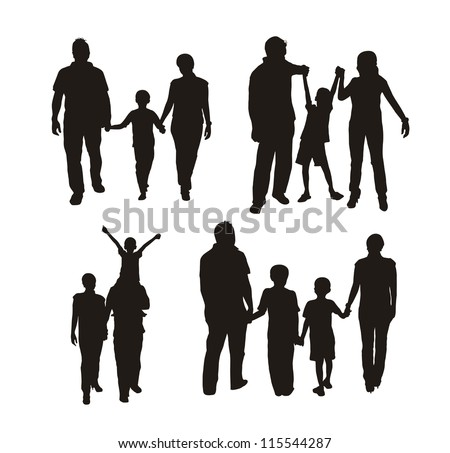 family silhouette isolated over white background. vector illustration - stock vector