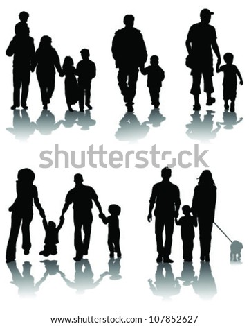 Family silhouettes and shadow-vector - stock vector