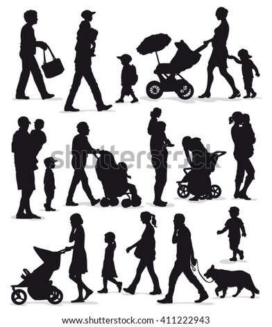 Family silhouettes - Black vector outlines of adults and children isolated - stock vector