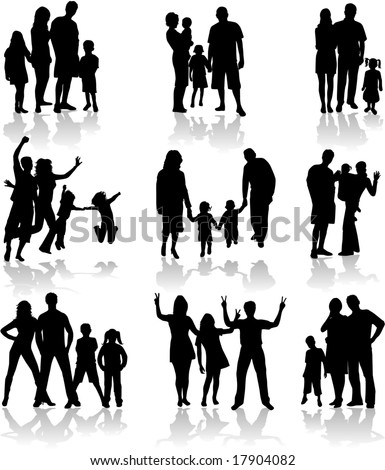 Family Silhouettes In different situations - stock vector