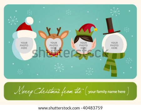 Family spirit Christmas card. Place your photos on christmas characters. - stock vector
