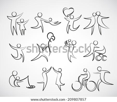 family symbol, happy family icons set - stock vector