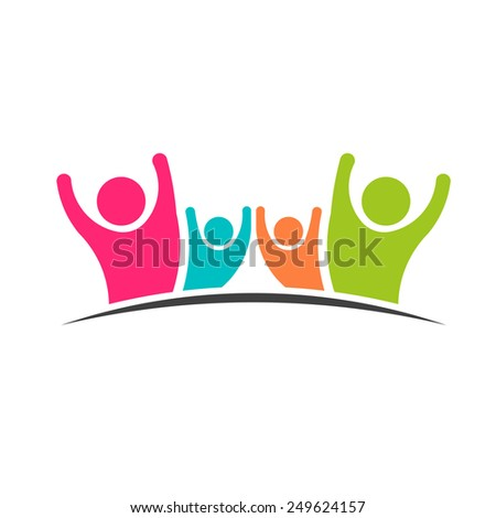 Family Team 4 people logo people - stock vector