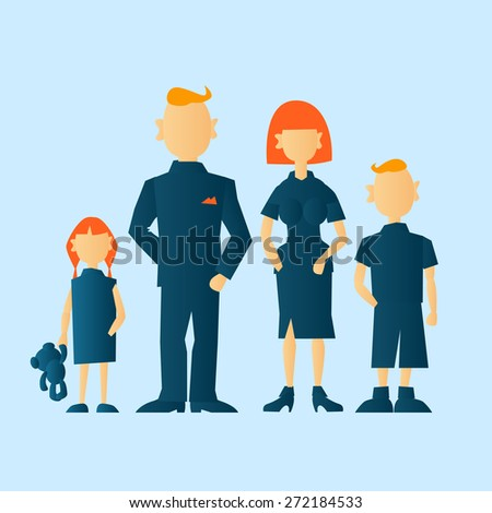 family team. vector colored silhouettes of man, woman, teenager boy, girl and teddy-bear - stock vector