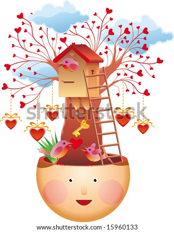 Family thoughts. Family love concept. A lovely tree house, a bird family, a key of love and many hearths. - stock vector