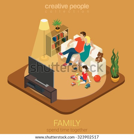 Family time parenting flat 3d isometric web infographic concept. Couple mother father and son in living room watching TV. Creative people family collection. - stock vector