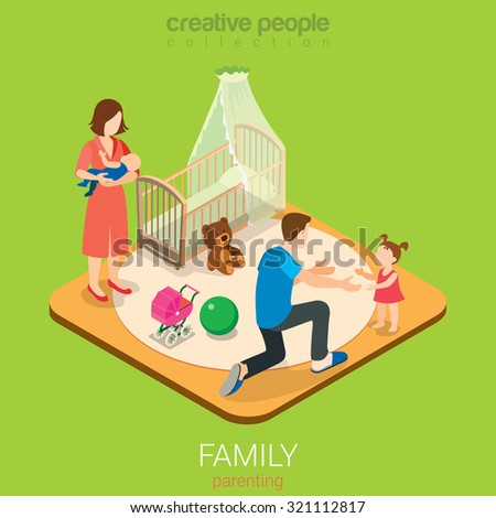Family time parenting flat 3d isometric web infographic concept. Dad in child room with daughter and mom with son. Creative people family collection. - stock vector