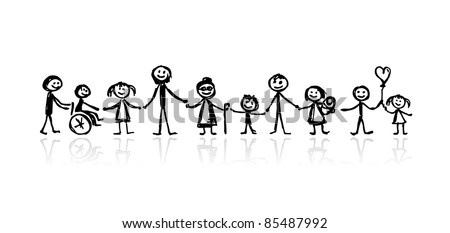 Family together, sketch for your design - stock vector
