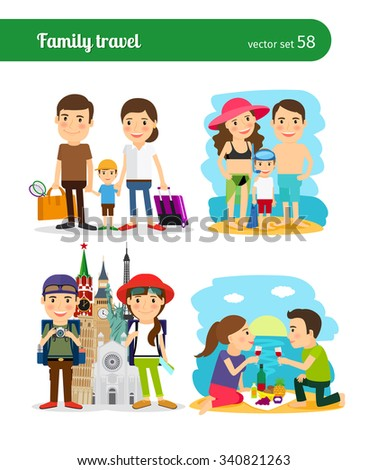 Family travel people. Rest on the beach and sightseeing. vector illustration. - stock vector