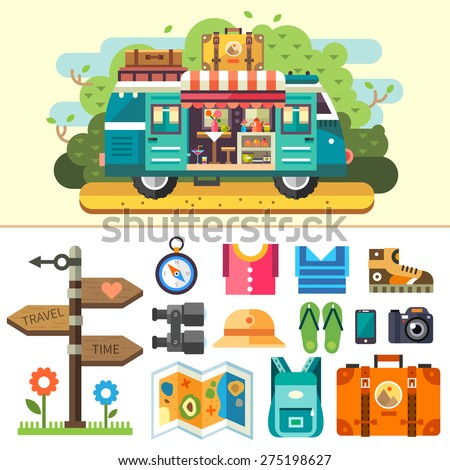 Family travel van. Ice cream coffee van. Summer vacation and holiday trip. Signpost, compass, clothes, shoes, boots, binoculars, sandals, phone, camera, backpack, suitcase. Vector flat illustration  - stock vector