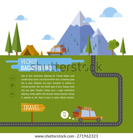 Family traveling in car. Background, tent, mountain, forest, fire, road, lake, car. Vector illustration - stock vector